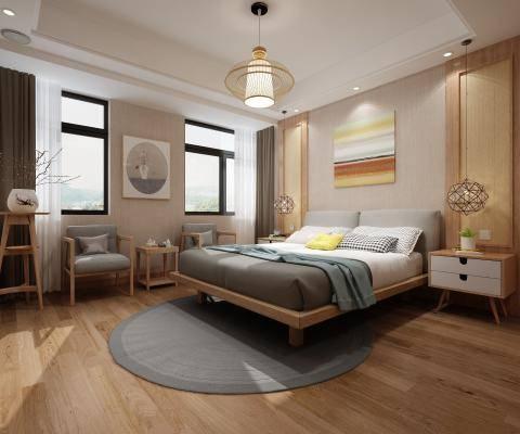 日式卧室  双人床  灯 画  休闲椅