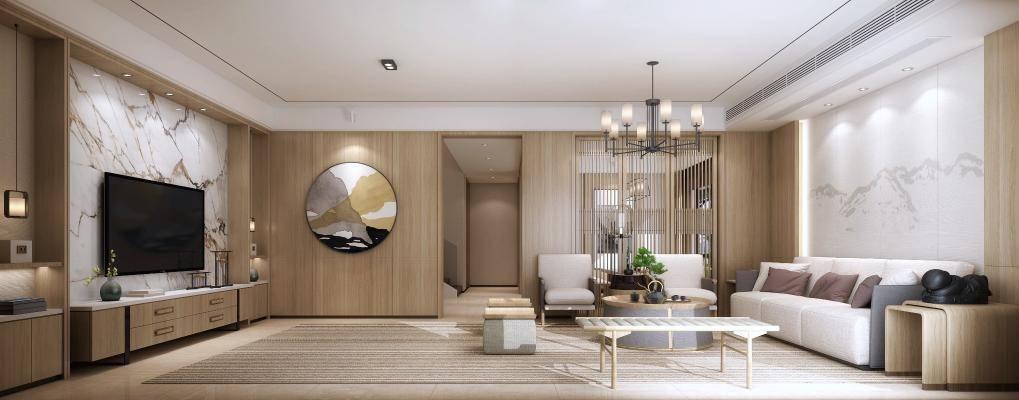 新中式沙发组合 餐桌椅 厨房 电视柜 茶几 饰品 楼梯 别墅 客厅 餐厅 厨房 茶室