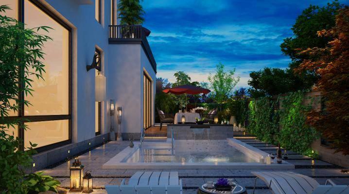 新中式园林景观户外禅意景观户外游泳池建筑小品景观