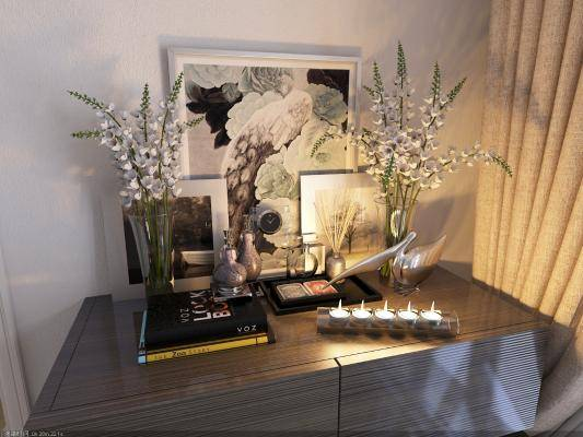 现代装饰品 盆栽 画框 烛台 时钟 雕塑组合
