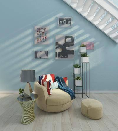 北欧沙发 茶几 台灯 盆栽 墙饰挂画 抱枕搭巾组合