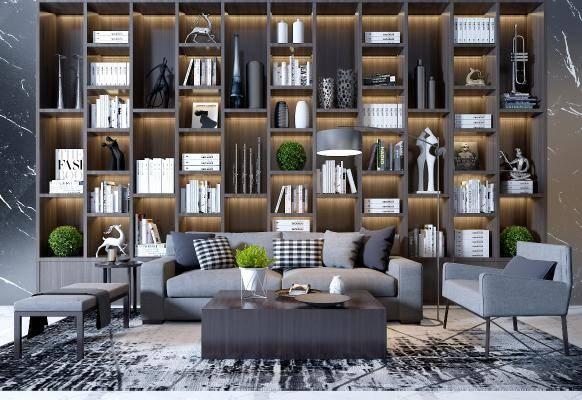 现代沙发落地灯柜子组合3d模型下载【ID:123667068】
