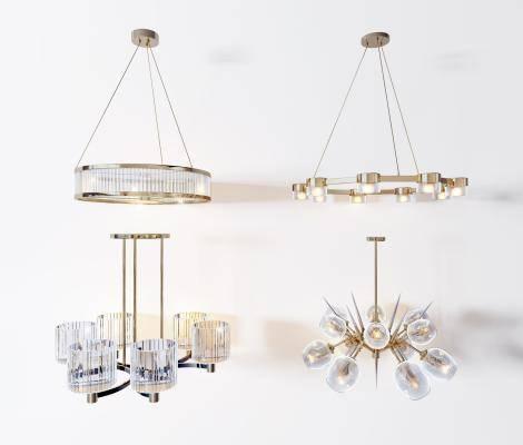 现代金属吊灯组合3d模型下载【ID:523667874】
