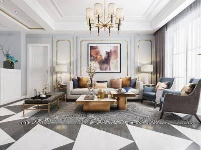 后现代轻奢客厅餐厅 后现代轻奢沙发茶几组合 金属吊灯壁灯 后现代餐桌椅组合
