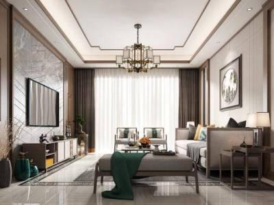 新中式客厅3d模型下载【ID:725269780】