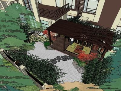日式景观庭院花园规划设计SU模型下载【ID:525458429】