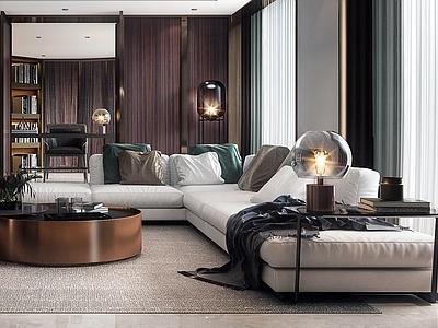 现代家居客厅3d模型下载【ID:734505794】