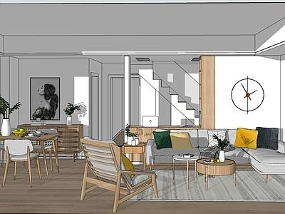 北欧日式全屋案例餐厅 餐桌 办公室 庭院 家具
