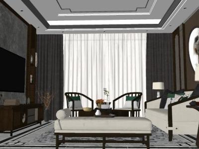 家装新中式风格客厅室内SU模型下载【ID:931325847】
