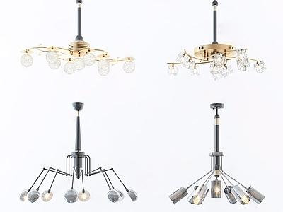 现代吊灯组合3d模型下载【ID:535044879】