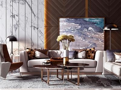 现代轻奢沙发茶几组合3D模型【ID:135040081】