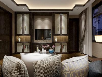 新中式卧室 背景墙 吊顶 沙发椅子 植物 3D全景模型