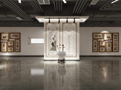 工业风格 古董挂画 展厅 3D全景模型