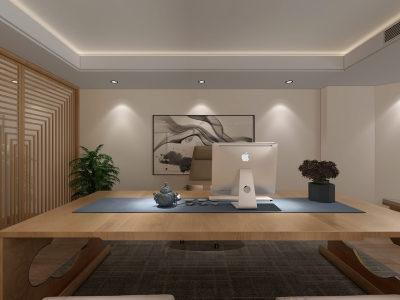 新中式办公室 楼梯 端景 书房 办公桌 庭院 仿古砖 鱼鳞隔断 3D全景模型