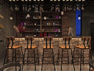 工业风复古酒吧 3D全景模型