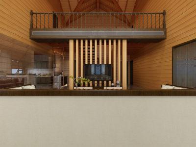 新中式休闲 木屋别墅3D全景模型