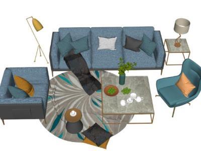 现代北欧客厅家具组合包SU模型下载【ID:732222659】