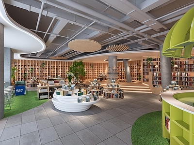 宁波芝士公园书店 效果图+实景图+施工图CAD+SU+概念方案施工图下载