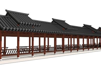 中式景观廊架床SU模型下载【ID:432225751】