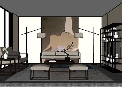 中式沙发茶几SU模型下载【ID:332433762】