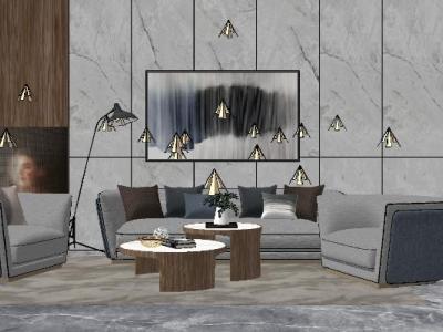 现代简约轻奢客厅沙发组合SU模型下载【ID:929977897】