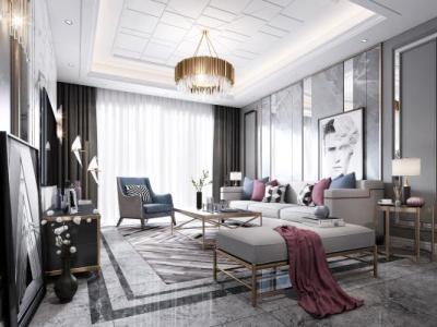 后现代客厅 沙发 吊灯 台灯 挂画 装饰品 抱枕 窗帘 电视柜